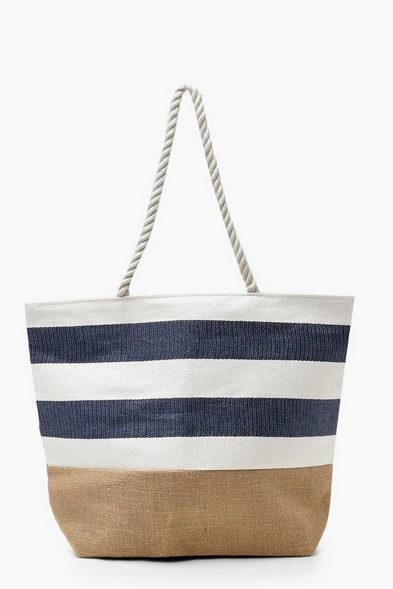 Womens Woven Base Denim Stripe Beach Bag