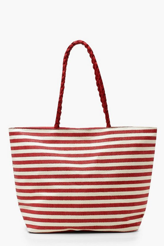 Red Stripe Plait Handle Beach Bag
