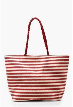 Womens Red Stripe Plait Handle Beach Bag