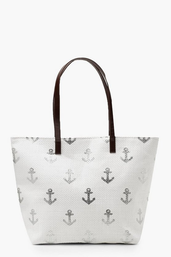 Womens White Paper Straw Metallic Anchor Beach Bag
