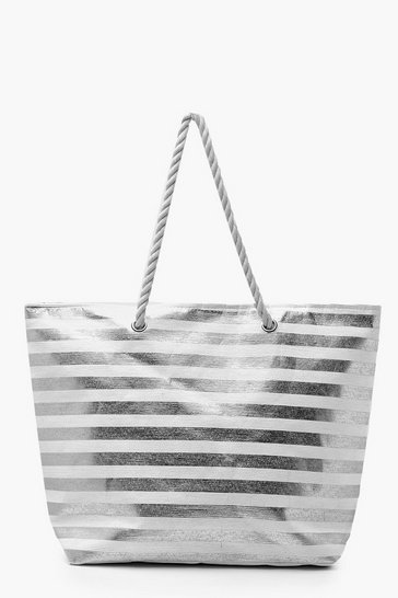 Silver Metallic Stripe Rope Handle Beach Bag