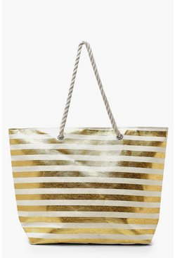 Womens Gold Metallic Stripe Rope Handle Beach Bag