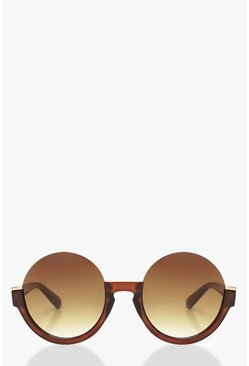 Womens Brown Cut Out Sunglasses