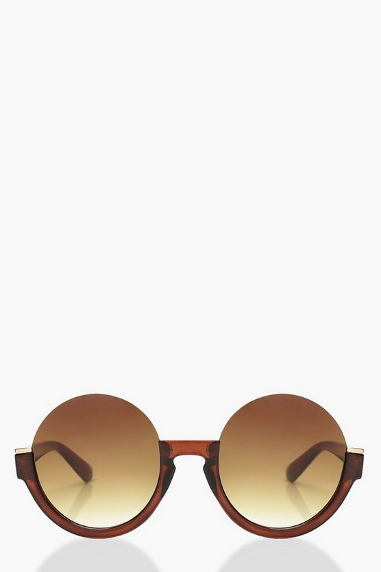 Womens Brown Brown Cut Out Sunglasses