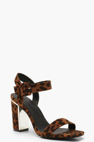 Womens Leopard 2 Part Block Heels