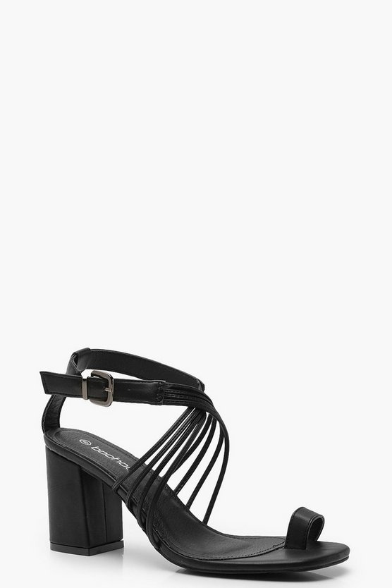 Multi Strap Toe Ring Block Heels