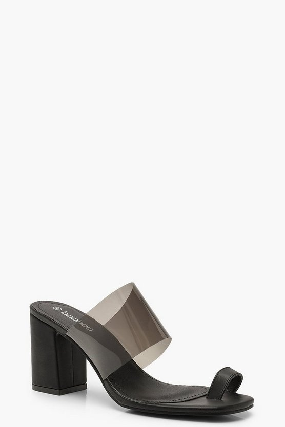 Black Clear Panel Toe Post Mules