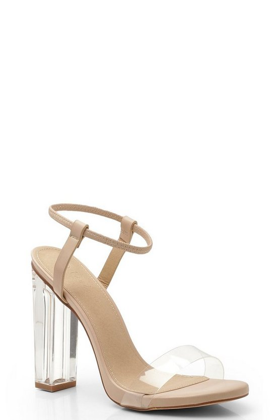 Womens Nude Halo Ankle Band Clear Heel 2 Parts