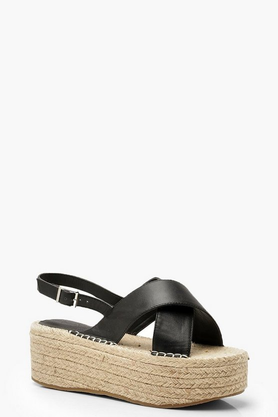Black Wide Fit Cross Strap Flatforms