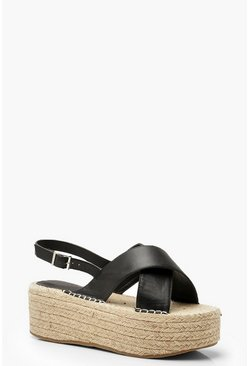 Womens Black Wide Fit Cross Strap Flatforms