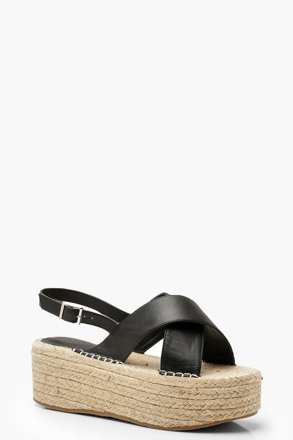 c396fbfec85 Wide Fit Cross Strap Flatforms. Hover to zoom