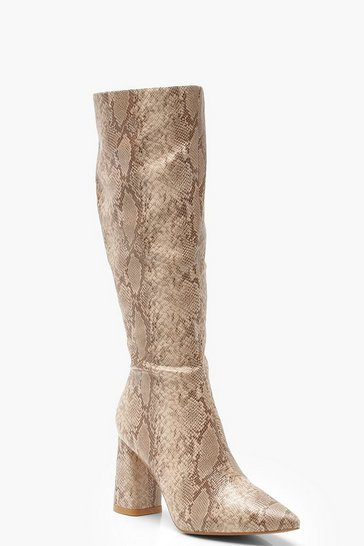 Womens Natural Snake Knee High Block Heel Boots