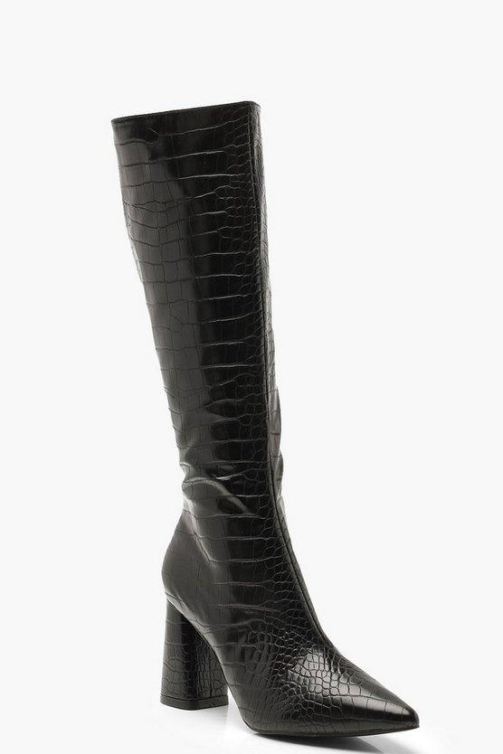 croc-knee-high-block-heel-bootscroc-knee-high-block-heel-boots by boohoo