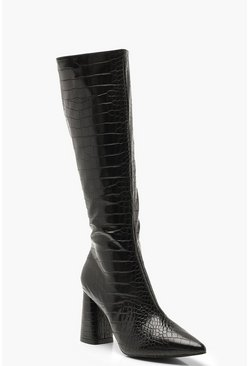 Dam Black Croc Knee High Block Heel Boots