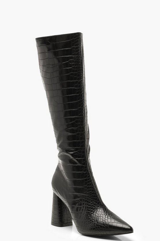 Womens Black Croc Knee High Block Heel Boots