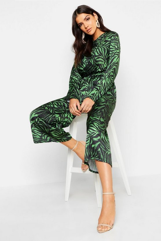 Womens Green Satin Zebra Twist Front Jumpsuit