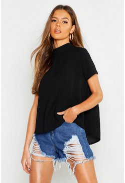 Womens Black Woven Pep Hem Shell Top