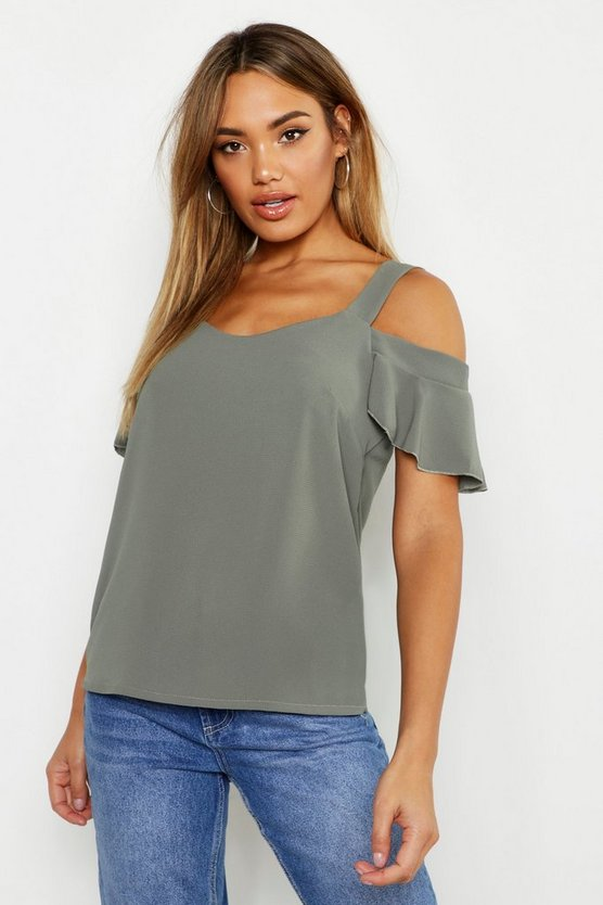 Womens Khaki Woven Cold Shoulder Cami