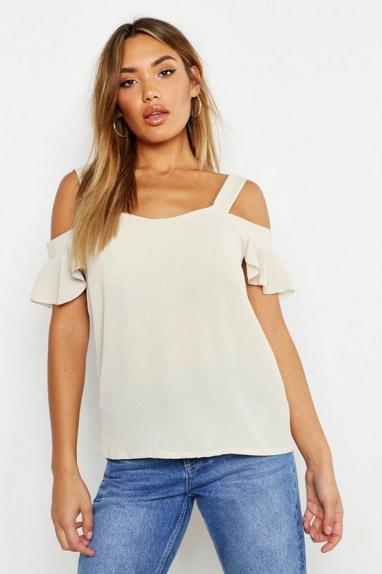 Womens Stone Woven Cold Shoulder Cami