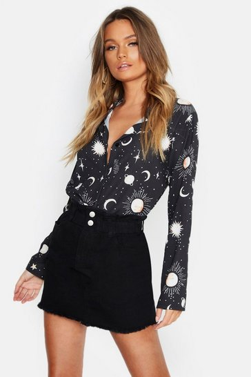 Womens Black Woven Star + Moon Print Shirt