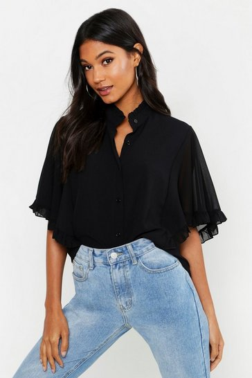 Womens Black Woven Ruffle angel Sleeve Blouse