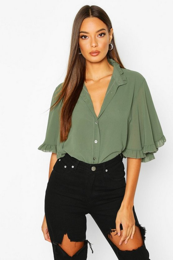 Womens Khaki Woven Ruffle angel Sleeve Blouse