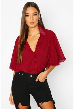 Womens Wine Woven Ruffle angel Sleeve Blouse
