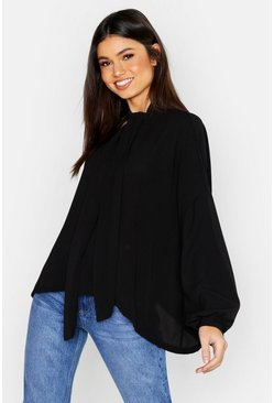Womens Black Woven Pussy Bow Blouse
