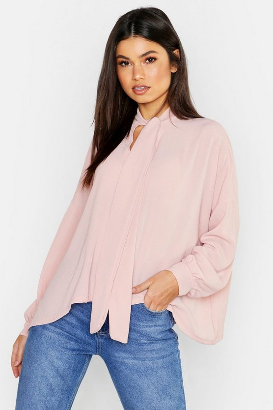 Womens Blush Woven Pussy Bow Blouse