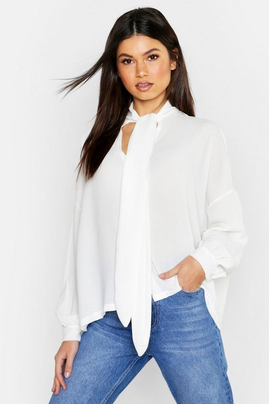 Womens Ivory Woven Pussy Bow Blouse