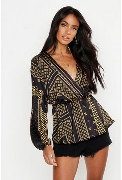 Womens Black Woven Scarf Print Wrap Blouse