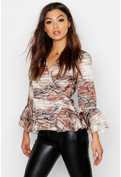 Gold Woven Mixed Animal Ruffle Blouse