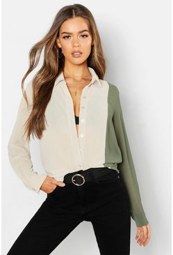 Womens Beige Woven Colour Block Shirt