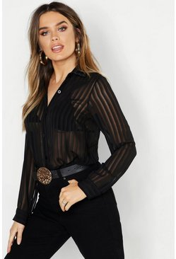 Womens Black Woven Burnt Out Stripe Shirt