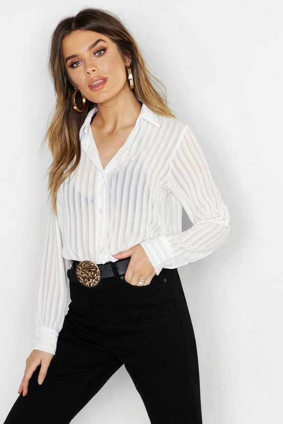 Womens Ivory Woven Burnt Out Stripe Shirt