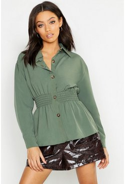 Womens Khaki Woven Shirred Utility Shirt