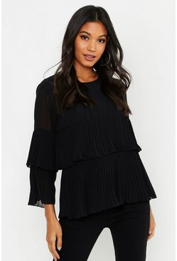 Black Woven Pleated Smock Top