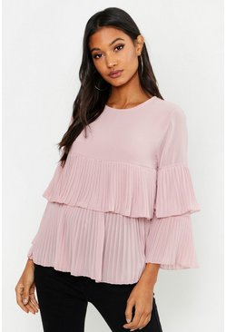 Womens Blush Woven Pleated Smock Top