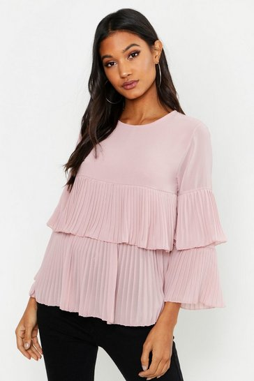 Blush Woven Pleated Smock Top