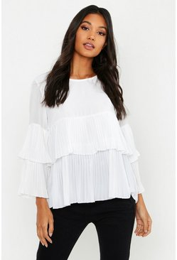 Womens Ivory Woven Pleated Smock Top