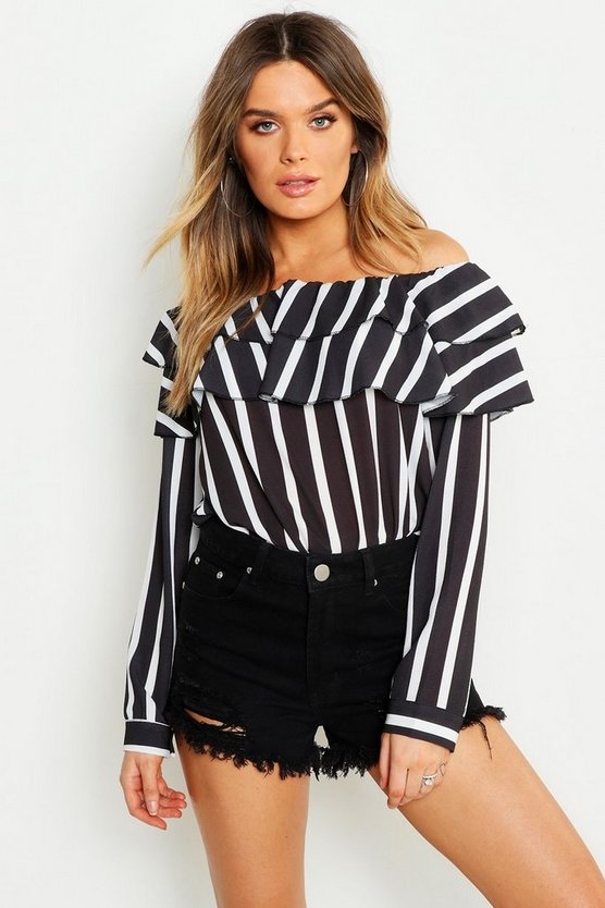 Womens Black Woven Stripe Ruffle Off The Shoulder Top