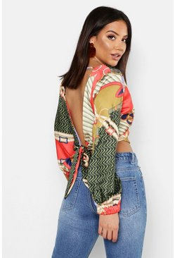 Womens Green Woven Chain Print Satin Tie Crop