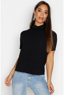 Womens Black Woven Collar Shell Top