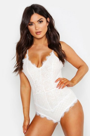 Womens Ivory Eyelash Lace Bodysuit