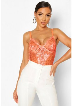 Neon-orange Neon Lace Premium Bodysuit