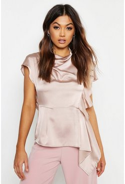 Womens Champagne Woven Satin Open Back Peplum