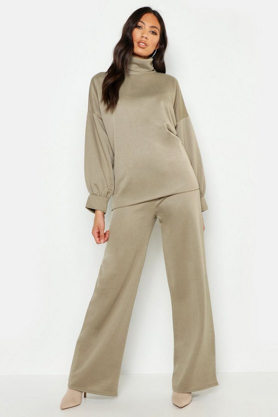 Womens Khaki True Roll Neck Longline Sweat