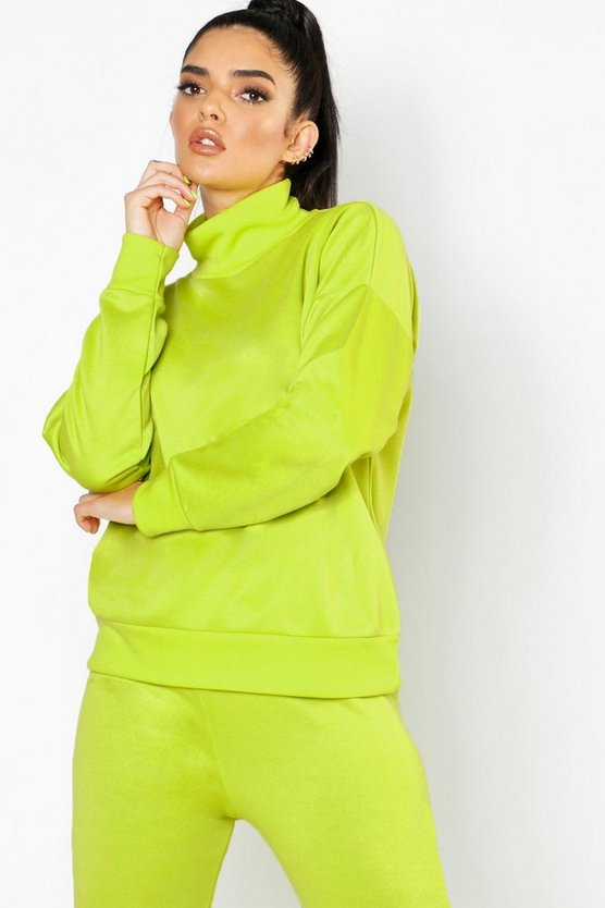 Womens Neon-green Roll Neck Sweat