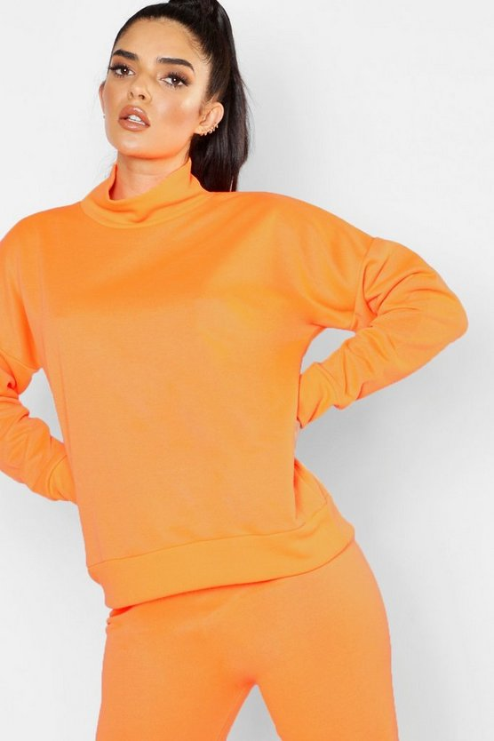 Womens Neon-orange Roll Neck Sweat