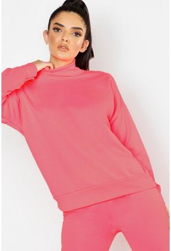 Womens Neon-pink Roll Neck Sweat
